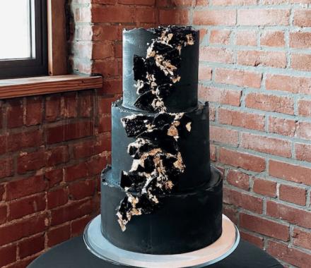 Water to Wheat Cakery Kansas City Wedding Cake black