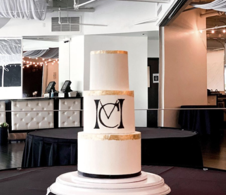 Water to Wheat Cakery Kansas City Wedding Cake chandelier