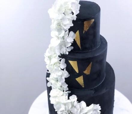 Water to Wheat Cakery Kansas City Wedding Cake triangle