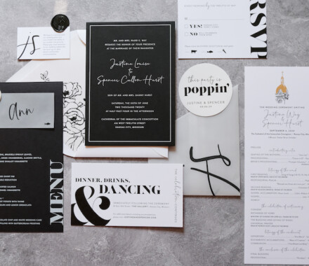 yellowbrick graphics wedding invitations black