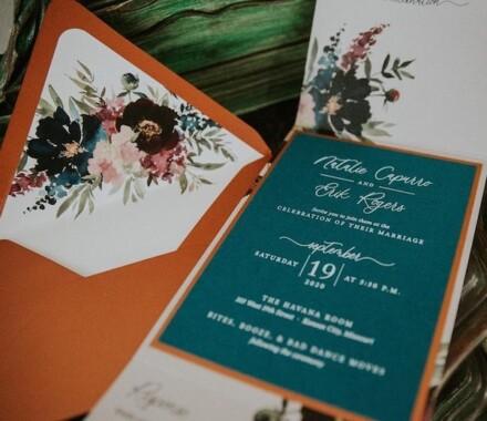 yellowbrick graphics wedding invitations blue green