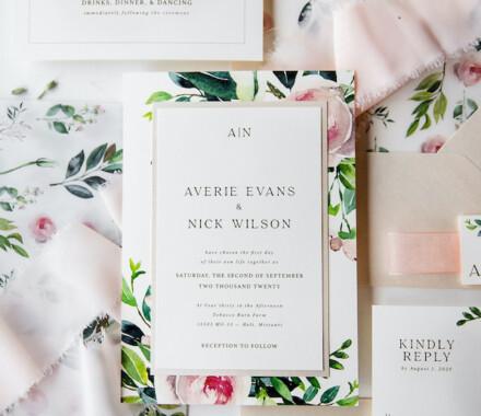 yellowbrick graphics wedding invitations green and flowers