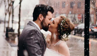 snowy april wedding at the stanley